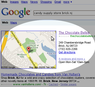 The Chocolate Belles Enhanced SERPs